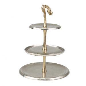 3 tier dessert stand gold tree leaf
